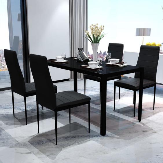 Ensemble de table pour salle à manger cinq pièces noir