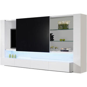 Ensemble TV design laqué blanc lumières 4 tiroirs