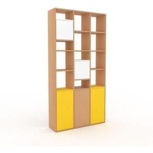 Étagère bureau - Hêtre, contemporaine, cabinet de rangement, avec porte Blanc - 118 x 233 x 35 cm, modulable