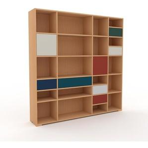 Étagère bureau - Hêtre, moderne, cabinet de rangement, avec porte Gris sable et tiroir Bleu nuit - 193 x 196 x 35 cm