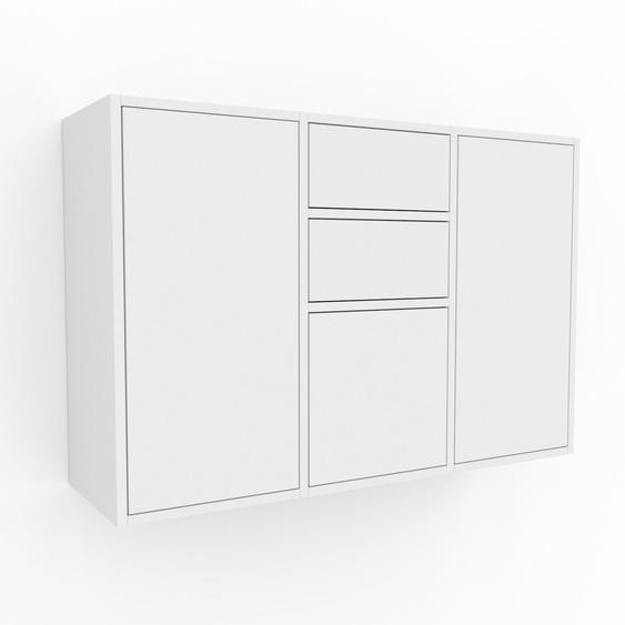 Étagère murale - Blanc, combinable, placard, avec porte Blanc et tiroir Blanc - 118 x 80 x 35 cm