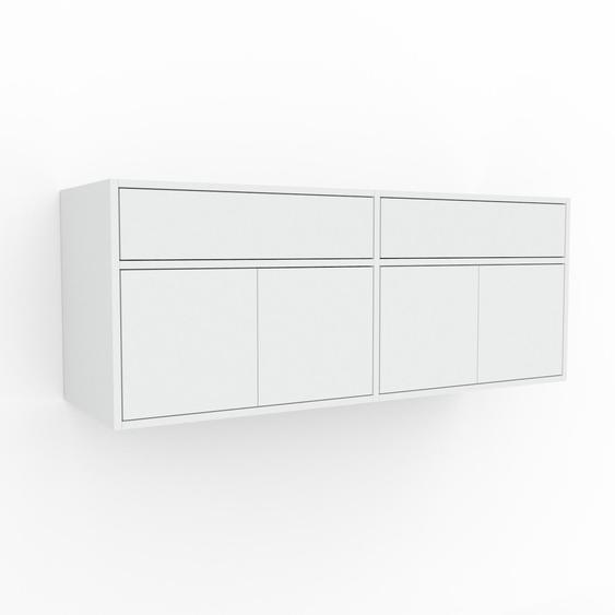 Étagère murale - Blanc, combinable, placard, avec porte Blanc et tiroir Blanc - 152 x 61 x 47 cm