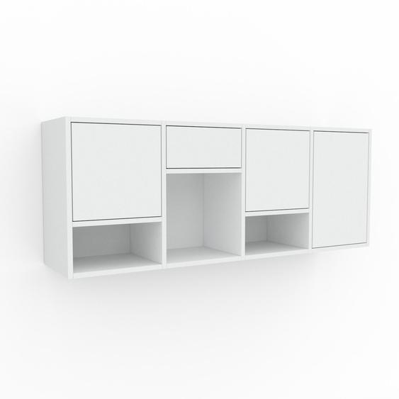 Étagère murale - Blanc, combinable, placard, avec porte Blanc et tiroir Blanc - 156 x 61 x 35 cm