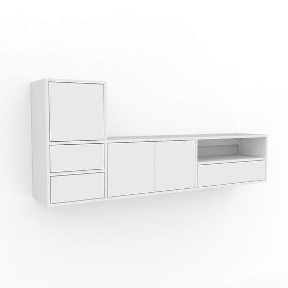 Étagère murale - Blanc, combinable, placard, avec porte Blanc et tiroir Blanc - 190 x 80 x 35 cm