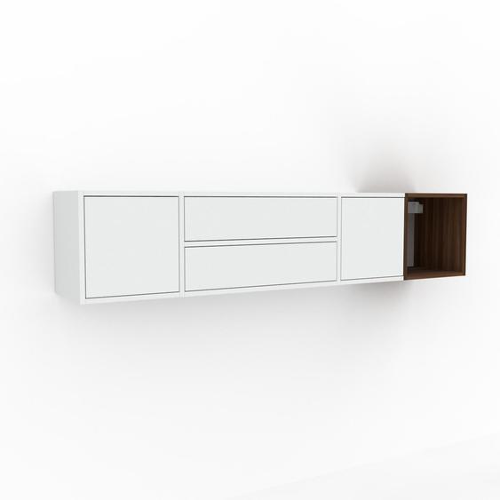 Étagère murale - Blanc, combinable, placard, avec porte Blanc et tiroir Blanc - 193 x 41 x 35 cm