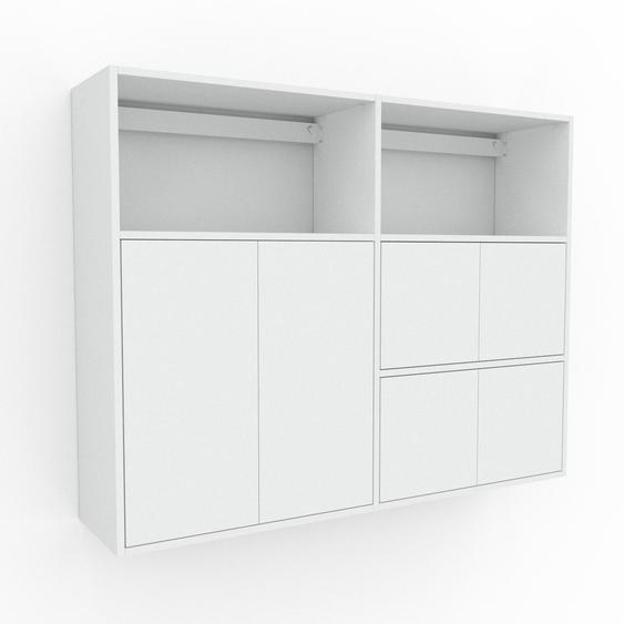 Étagère murale - Blanc, modèle moderne, placard, avec porte Blanc - 152 x 118 x 35 cm, modulable