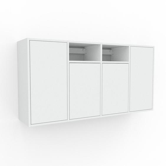 Étagère murale - Blanc, modèle moderne, placard, avec porte Blanc - 156 x 80 x 35 cm, modulable