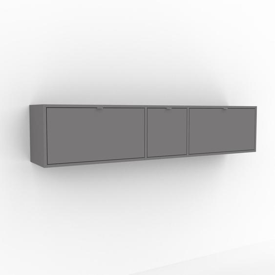 Étagère murale - Gris, design flexible, placard, avec tiroir Gris - 190 x 41 x 35 cm, configurable