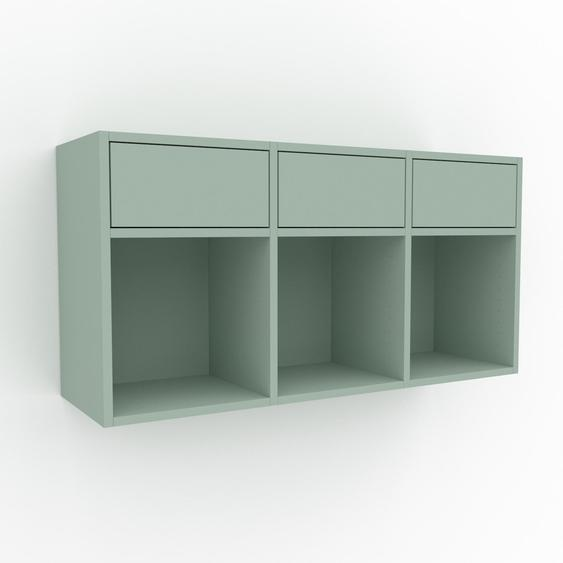 Étagère murale - Vert céladon, design flexible, placard, avec tiroir Vert céladon - 118 x 61 x 35 cm, configurable