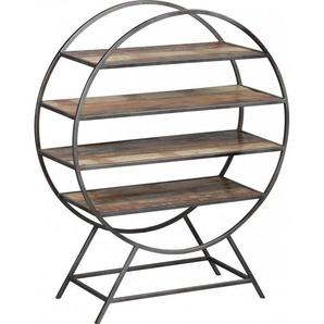 Etagère ronde acier 4 niveaux en palissandre vieillie