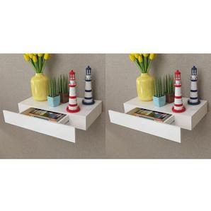 Étagères murales avec tiroirs 2 pcs Blanc 48 cm