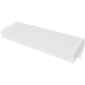 Étagères murales avec tiroirs 2 pcs Blanc 80 cm
