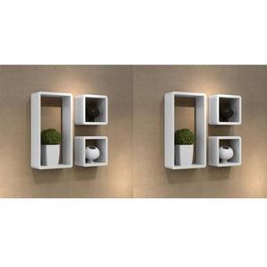 Étagères murales sous forme de cube 6 pcs Blanc