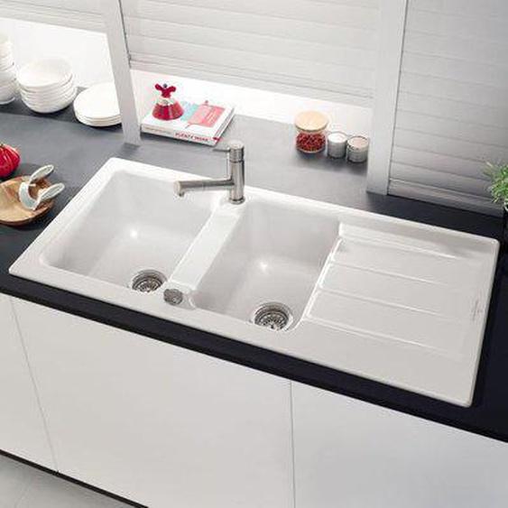 Evier céramique blanc Villeroy & Boch ARCHITECTURA 2 bacs 1 égouttoir