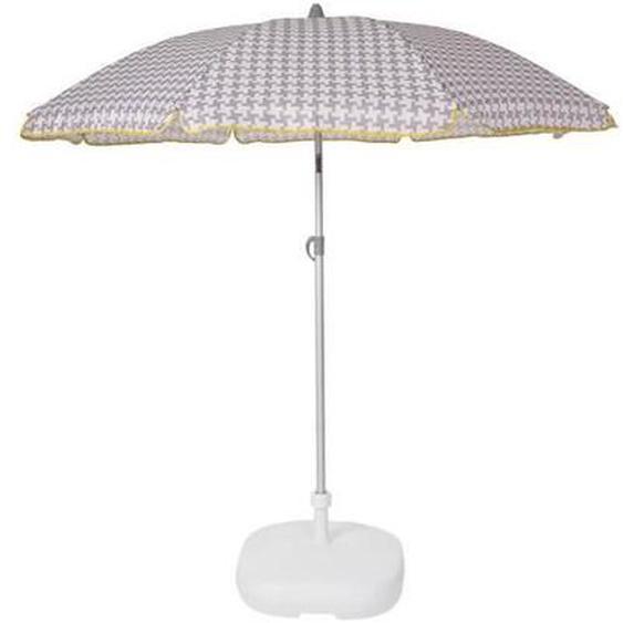EZPELETA Parasol droit Beach - Ø 180 cm - Vichy gris Socle non inclus