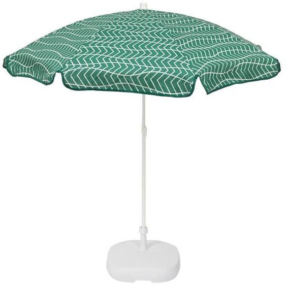 EZPELETA Parasol inclinable Bora - Ø 160 cm - Rayé vert et blanc Socle non inclus