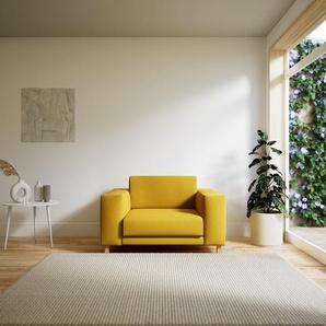 Fauteuil - Jaune Colza, modèle épuré, grand fauteuil en tissu avec pieds personnalisables - 128 x 75 x 98 cm, modulable