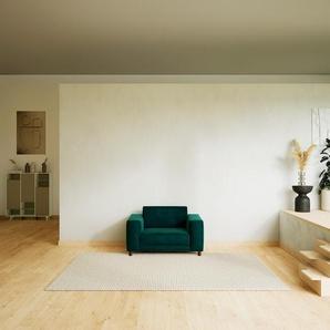 Canapé - Bleu Pétrole, modèle épuré, canapé pour salon, en tissu avec pieds personnalisables - 128 x 75 x 98 cm, modulable