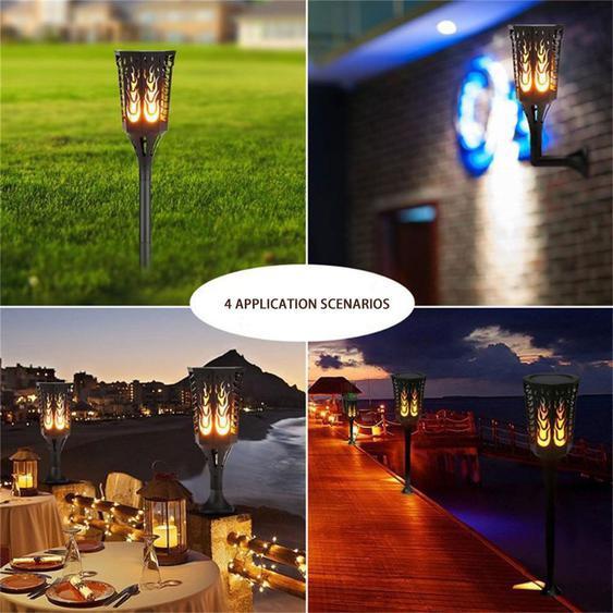 Flickering Lights Solaire Mur Lumière Intégrée Nuit Capteur 96 Led