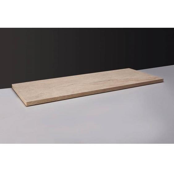 Forzalaqua Plateau Plan vasque 120.5x51.5cm 0Xø72mm Marbre Travertin 400098