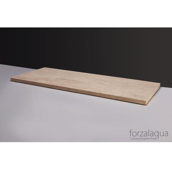 Forzalaqua Plateau Plan vasque 160.5x51.5cm 2Xø72mm Marbre Travertin 400130