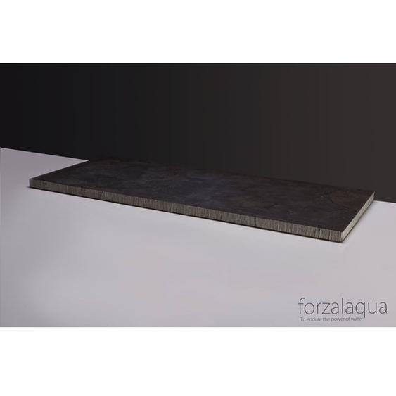 Forzalaqua Plateau Plan vasque 60.5x51.5x3cm rectangulaire bleu gris pierre de taille ciselé 400052