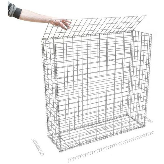 Rinno Gabion - Gabion en kit - 100 cm x 30 cm x 100 cm Maille rectangulaire 50 mm x 100 mm (Spirales)
