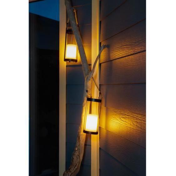 GALIX Lanterne solaire métal avec corde - Bougie LED