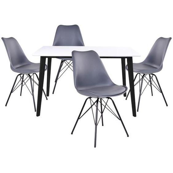GRAM - Ensemble Table Noire et Blanche + 4 Chaises Grises