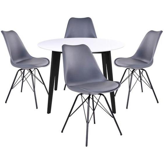 GRAM - Ensemble Table Ronde Noire et Blanche + 4 Chaises Grises