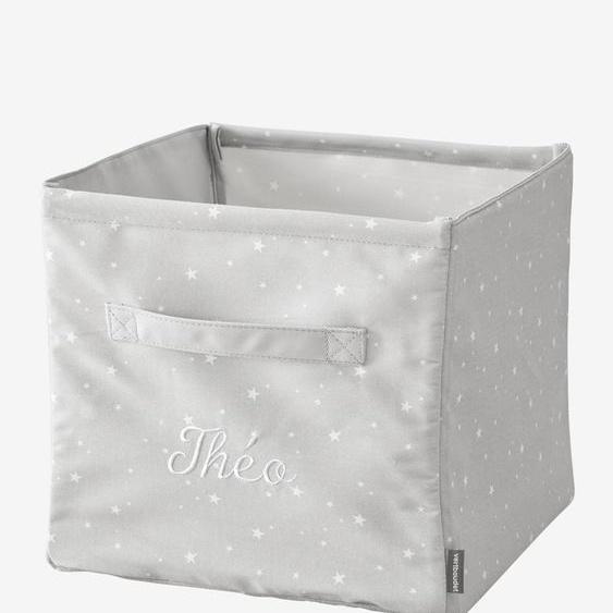 Grand bac de rangement en tissu personnalisable gris