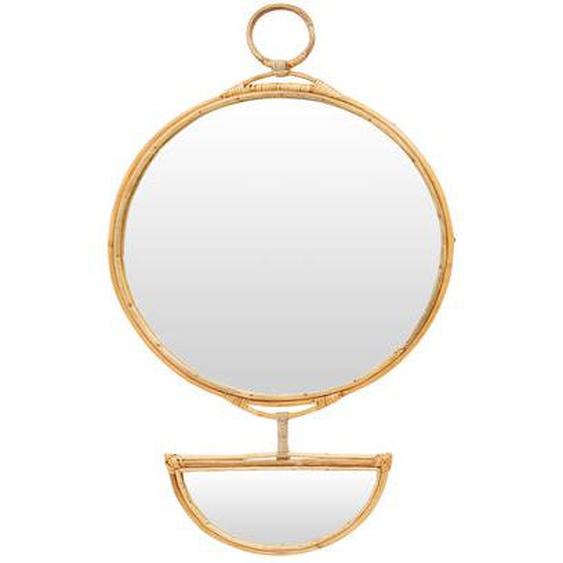 Grand miroir rond et demi lune Sirtaki cane H86 cm Ø50 cm