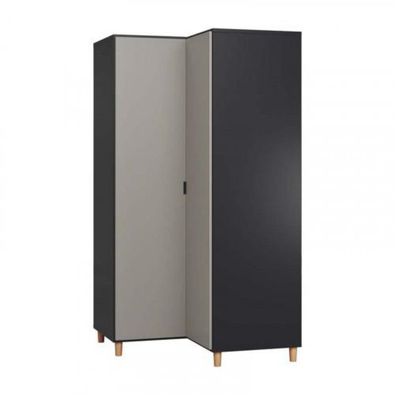 Grande armoire dangle pour chambre SIMPLE - noir - Panneaux stratifiés -
