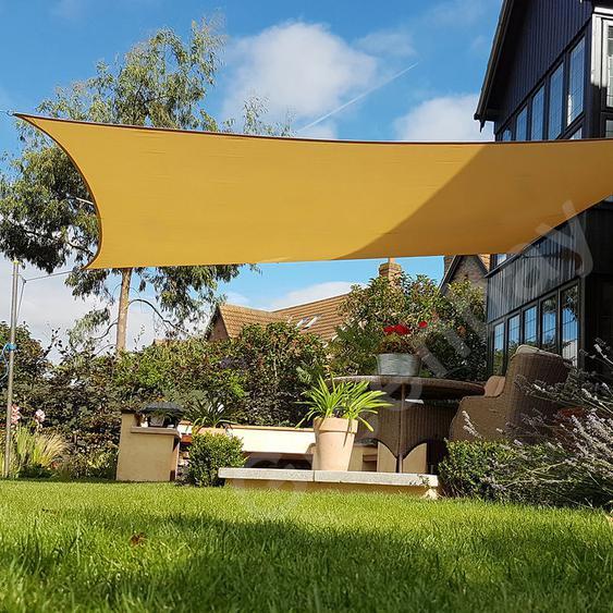 Green Bay Voile dOmbrage 160g/m2 Jardin Patio Fête Toile Solaire 98% Résiste aux UV Carré 4x4m Sable