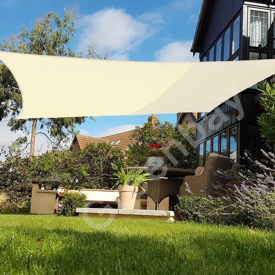 Voile dOmbrage 160g/m2 Jardin Patio Fête Toile Solaire 98% Résiste aux UV Carré 5x5m Crème - Green Bay
