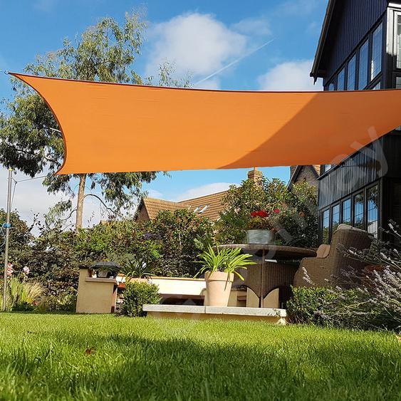 Voile dOmbrage 160g/m2 Jardin Patio Fête Toile Solaire 98% Résiste aux UV Carré 5x5m Orange - Green Bay