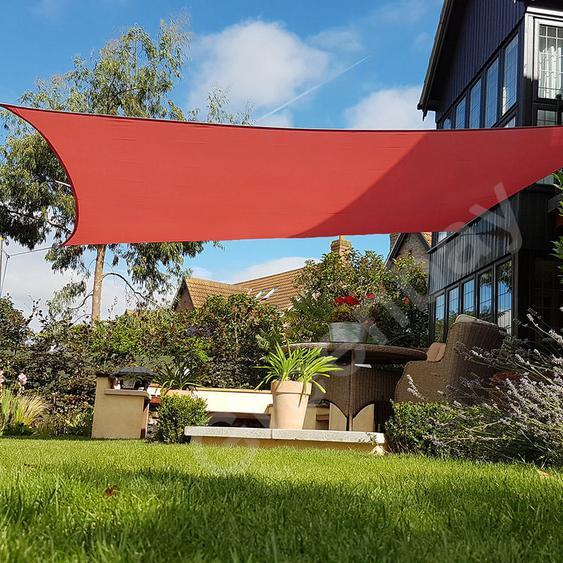 Green Bay Voile dOmbrage 160g/m2 Jardin Patio Fête Toile Solaire 98% Résiste aux UV Carré 5x5m Terre Cuite
