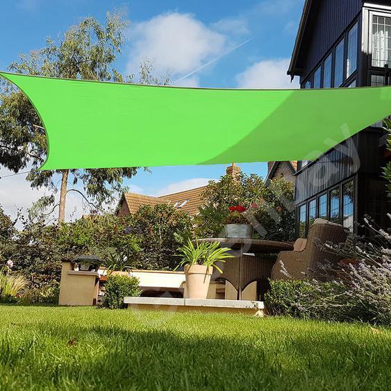 Voile dOmbrage 160g/m2 Jardin Patio Fête Toile Solaire 98% Résiste aux UV Carré 5x5m Vert Clair - Green Bay