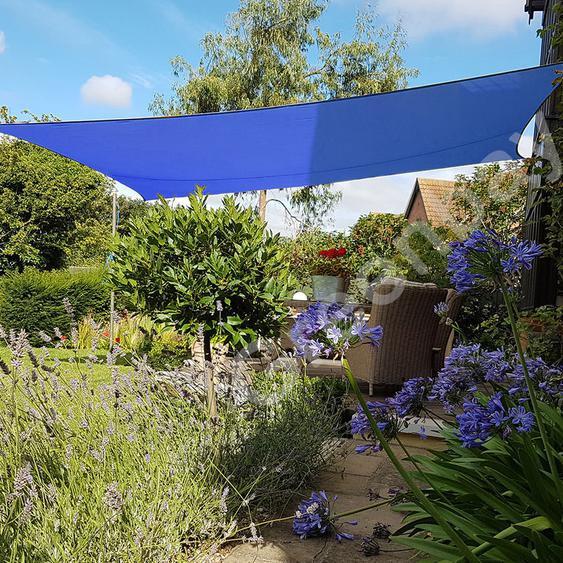 Green Bay Voile dOmbrage 160g/m2 Jardin Patio Fête Toile Solaire 98% Résiste aux UV Rectangle 5x4m Bleu