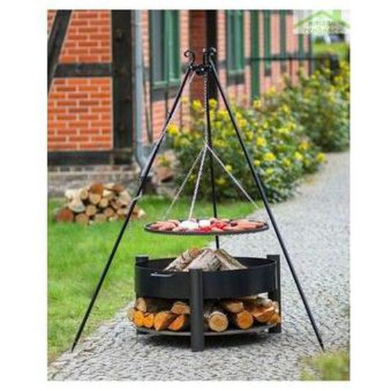 Cook King - Grille barbecue sur trépied + Brasero avec range bois SOLAFA en acier noir