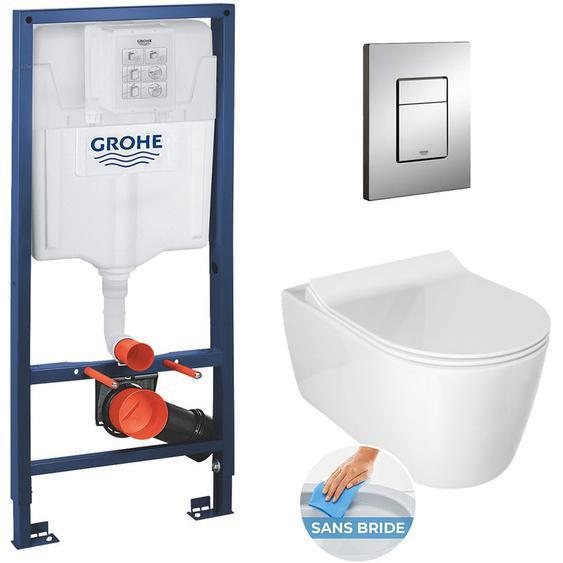 Grohe / Glacera Pack WC Rapid SL + cuvette Alfa sans bride + plaque chrome (RapidSlAlfaRimless)