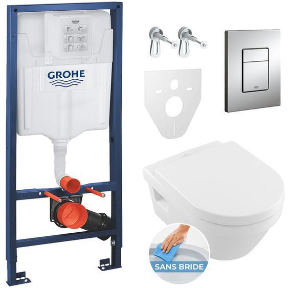 Grohe Pack WC Grohe Rapid SL + Cuvette Villeroy & Boch + Plaque de commande Grohe Skate Chrome (38528SET-France)