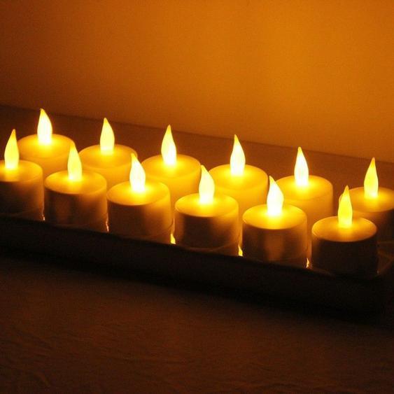 Guirlande Lumière De Décoration De Maison De Bougie De Flicker Rechargeable Sans Flammes De 12 Pcs Led Avec Le Panneau De Charge