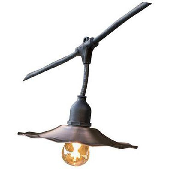 Guirlande lumineuse extérieur avec abat-jour en acier cuivré 10 ampoules à filament vintage douille E27 LED blanc chaud RETRO LI