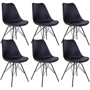 Haga - Lot de 6 Chaises Noires avec Piétement Métallique