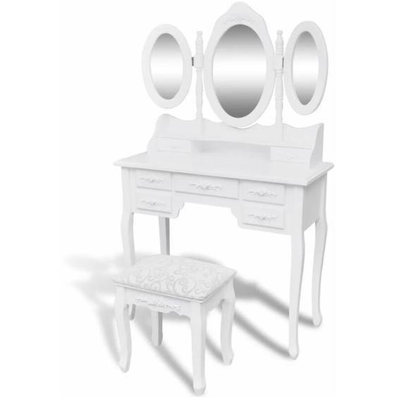 Hommoo Coiffeuse avec tabouret et 3 miroirs Blanc HDV08756
