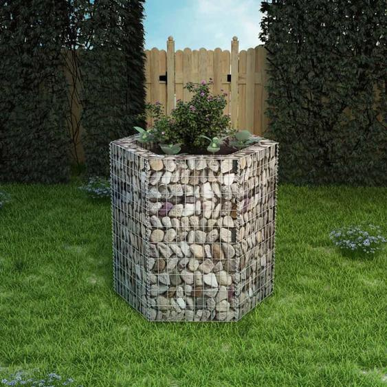 Hommoo Jardinière à gabion hexagonale 100 x 90 x 100 cm