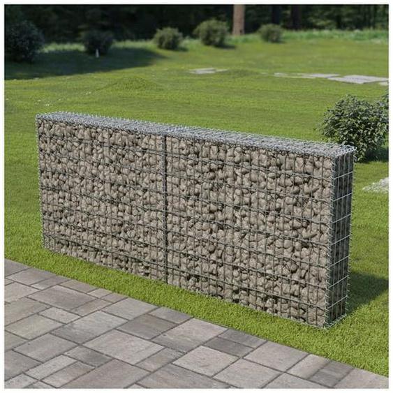 Hommoo Mur à gabion avec couvercles Acier galvanisé 200 x 20 x 85 cm