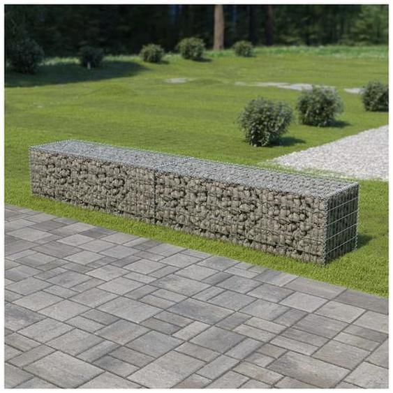 Mur en gabion avec couvercles Acier galvanisé 300 x 50 x 50 cm - Hommoo