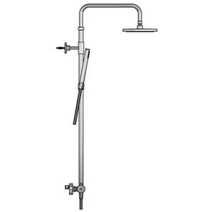Hotbath Archie Colonne de douche murale avec robinet thermostatique, douche de tête et douchette inox SDS30IX